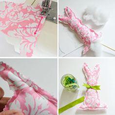 DIY Stuffed Easter Bunnies - using scrap fabric and ribbon Fabric Scraps, Scrap Fabric, Party Printables, Sewing Hacks, Easter Bunny, Custom Design, Ribbon, Stitch, Pattern