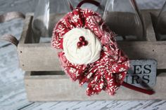 Snow Berry frayed fabric ruffle and rosette by Birdie Baby Boutique