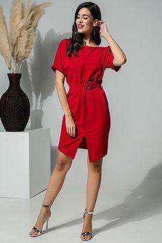 30acd89e9e6 Φόρεμα με ζωνάκι στη μέση κόκκινο