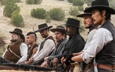 Still of Ethan Hawke, Denzel Washington, Vincent D'Onofrio, Byung-hun Lee, Chris Pratt, Manuel Garcia-Rulfo and Martin Sensmeier in The Magnificent Seven (2016)