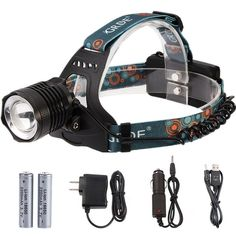 Zoomable Headlamp 3-Mode 1800Lumens Rechargeable LED Flashlight Water-resistant Head Torch  2 X 18650 Rechargeable Batteries  Wall Charger  Car Charger  Headlight Special USB Cable *** Be sure to check out this awesome product.