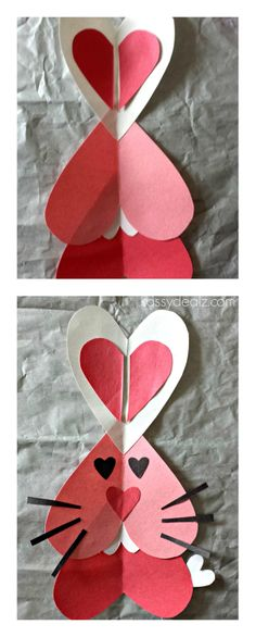 Heart Bunny Rabbit Craft For Kids {Valentine's Day Art Project} #Heart shaped animal | CraftyMorning.com