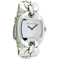 Pre-owned Gucci 121 Marina Chain Large White Pearl Dial Ya121302... ($503) ❤ liked on Polyvore featuring jewelry, watches, accessories, silver, wrap bracelet, black dial watches, bracelet watches, chain bracelet and wrap watches