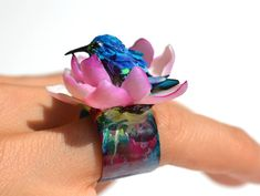 OOAK Humming Bird Ring Searching For Enlightment, Polymer Klay, Statement Jewelry Collectable Art Rings, Adjustble Handmade Ring