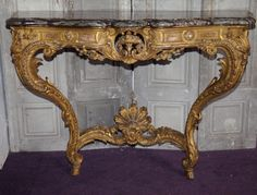 Console De Style Louis XV Circa 1880. #Console in carved and gilded wood #Regence #style marble top campan. #19th century. For sale on #Proantic by Olivier d'Ythurbide et Associé More At FOSTERGINGER @ Pinterest