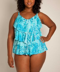 Take a look at this Peacock Bayou Plus-Size Tankini Top by Simply Sole on #zulily today!