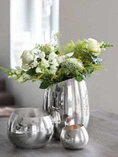 Vasen-Set Modern Standvase Deko Wohnaccessoire Silber Aluminium Poliert #121