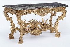 Table. Unknown   French, Paris, about 1730   Gessoed and gilded oak; brèche violette stone top