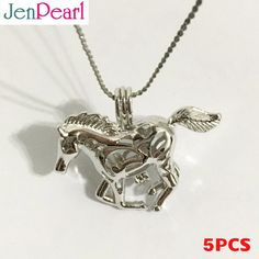 5pcs! Cage Pendant for Akoya Pearl Horse Amazing Gift - Necklaces & Pendants