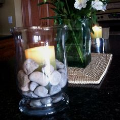 Spa party candle with rocks
