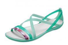 28b9eee62e66f4 Crocs Isabella Cut Out Graphic Flat Strappy Sandals New Mint Green Oyster