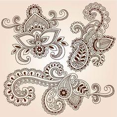 Illustration of Hand-Drawn Henna Paisley Flowers Mehndi Doodles Abstract Floral Vector Illustration Design Elements vector art, clipart and stock vectors. Mehndi Tattoo, Henna Mehndi, Henna Art, Mehendi, Lotus Henna, Lace Tattoo, Lotus Tattoo, Henna Tattoos, Mehndi Art