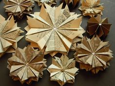 decorative stars made out of old paper. folded 64 times!!