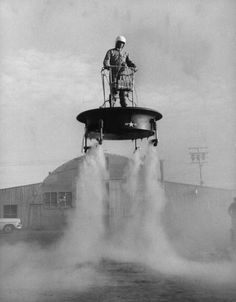 Flying platform being tested at an Air Force base, 1956
