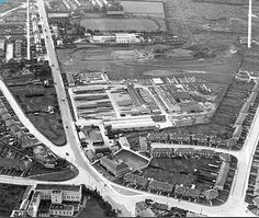 Moracrete Ltd, Crumlin Road Dublin 1948 , Where Crumlin Shopping Centre is now . Dublin Street, Dublin City, Old Pictures, Old Photos, Social Housing, Old Factory, Factories, Shopping Center, Old And New
