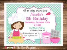 Items similar to PRINTABLE Little Chef Birthday Party Invitation / Pizza, Cooking, Baking / Choose Hair Color & Boy or Girl / Red and Teal Blue / You Print on Etsy Baking Birthday Parties, Baking Party, Printable Invitations, Invitation Cards, Birthday Party Invitations, Birthday Party Themes, Chef Party, Little Girl Birthday, 10th Birthday