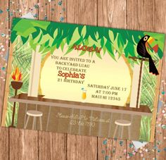 Luau Party Hawaii Invitation Flyer Poster Template Luau