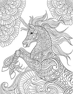 Unicorn Coloring Book Adult Coloring Gift A Unicorn and Horse Lovers Delight Featuring 30 Majestic Design Pages To Color Patterns For Stress Relief Majestic Unicorn Vo. Mermaid Coloring Pages, Horse Coloring Pages, Adult Coloring Book Pages, Printable Adult Coloring Pages, Mandala Coloring Pages, Coloring Pages To Print, Colouring Pages, Coloring Books, Mandalas Painting