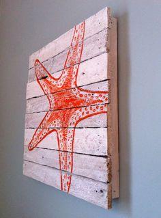 Orange painted starfish - reclaimed wood