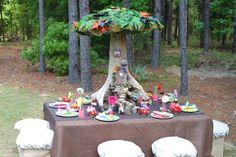 fairy birthday party table-amazing tree house centerpiece!