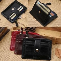 Men's Luxury Leather Zipper Credit Card ID Mini Holder Purse Money Clip Wallet