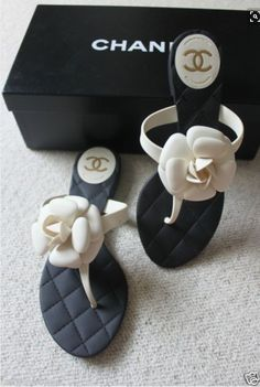 Chanel - Only flip flops I would ever wear Coco Chanel, Chanel Shoes, Chanel Sandals, Chanel Slippers, Chanel Fashion, Fashion Shoes, Cute Shoes, Me Too Shoes, Daily Shoes