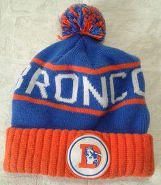 c8491858d98 Denver Broncos Hat Beanie Throwback NFL Mitchell  amp  Ness High Five Cap  Pom Pom