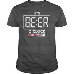 Its BEER OClock T-Shirts, Hoodies. Get It Now ==> https://www.sunfrog.com/Drinking/Its-BEER-OClock-Here-Dark-Grey-Guys.html?id=41382