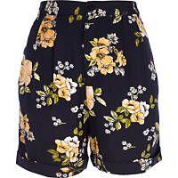Navy floral print casual shorts