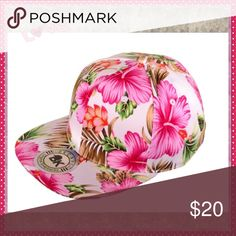 Flat Bill Floral SnapBack Hat Cotton floral SnapBack, 6 panel, plastic snap closure back, 100% Cotton Boutique Accessories Hats