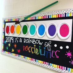 Love this Rainbow of Possibilities bulletin board for back to school! What a col… Love this Rainbow of Possibilities bulletin board for back to school! What a colorful and optimistic board for the hallway or classroom! Summer Bulletin Boards, Back To School Bulletin Boards, Preschool Bulletin Boards, Classroom Board, Classroom Bulletin Boards, Classroom Displays, Colorful Bulletin Boards, Library Displays, Bulletin Board Ideas For Teachers