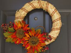 Thanksgiving wreath, fall wreath, Straw Wreath with Orange sunflowers by ASimpleNotion on Etsy Straw Wreath, Wreath Fall, Orange Sunflowers, Thanksgiving Wreaths, Project Ideas, Projects, Fall Diy, Door Wreaths, Fall Halloween