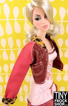 Barbie My Scene Vinyl Baseball Jacket with Cheetah Trim