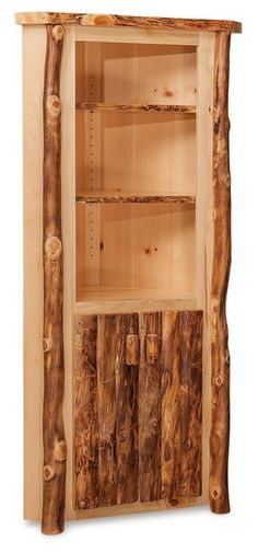 Amish Log Furniture Small Corner Cabinet Bring in a log look for maximum rustic appeal. Built in choice of rustic pine, aspen or cedar wood. Fine storage for dining room or kitchen. #logfurniture #rustic #cornerhutch
