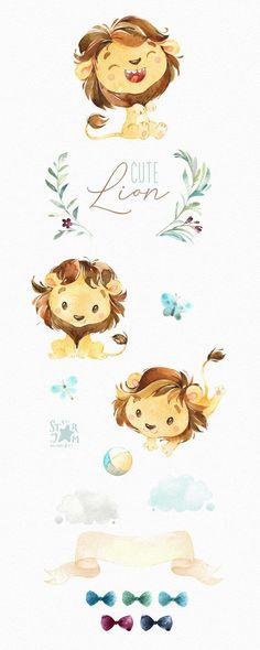 Watercolor little animal clipart cub boy kid