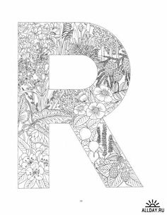 Letter R With Plants Coloring Page From English Alphabet Category Select 26736 Printable Crafts Of Cartoons Nature Animals
