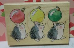 MERRIEST XMAS 2529K Christmas Hedgehogs Margaret Sherry Penny Black Stamp #C99 in Crafts, Stamping & Embossing, Stamps   eBay