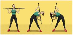 20 Simple Exercises with a Broom Stick to Strengthen Buttocks, Abdomen & Legs Squat, Broom Handle, Month Workout, Pilates Workout, Pilates Mat, Lower Belly, Yoga For Kids, Easy Workouts, Kung Fu
