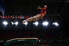 Sae Miyakawa of Japan competes on the vault during Women's qualification for Artistic Gymnastics on Day 2 of the Rio 2016 Olympic Games at the Rio...
