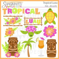 Luau Tropical Clipart by SanqunettiDesigns on Etsy