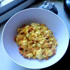 Vegan scrambled eggs using Vegg! Plus Vegg rounds for breakfast sandwiches and mini Vegg quiches.