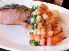 One Mother Hen: Papaya Salsa Kitchen Recipes, Cantaloupe, Salsa, Fruit, Food, The Fruit, Eten, Meals