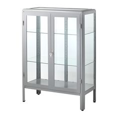 IKEA FABRIKÖR Glass-door cabinet Grey 81x113 cm With a glass-door cabinet you can show off as well as protect your glassware or your favourite collection.
