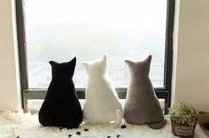 Soft Shadow Stuffed Cat Pillow