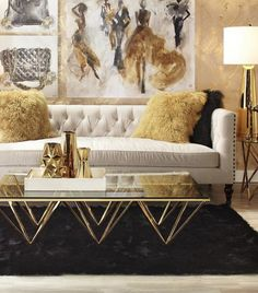 25 Ways To Use White Black and Gold In You Designs. / 25 Ways To Use White Black and Gold In You Designs. White black and gold decor for anywhere in your home. The best ways you can use white black and gold in your design. Home Design, Home Interior Design, Design Ideas, Design Shop, Design Design, Design Inspiration, Glam Living Room, Living Room Furniture, Living Room Decor Gold