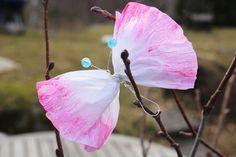 butterflies in paper and watercolour - påskpyssla fjärilar till påskriset