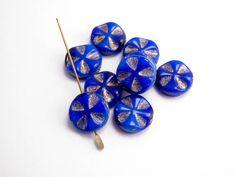 con0095 Blue Cross Coin Czech Glass Beads