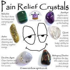 Crystals for Pain Relief Crystals Stones Rocks Bones Healing BOS Crystal Healing Chart, Crystal Guide, Crystal Shop, Crystals For Healing, Crystals For Luck, Crystals And Gemstones, Stones And Crystals, Gem Stones, Crystal Meanings