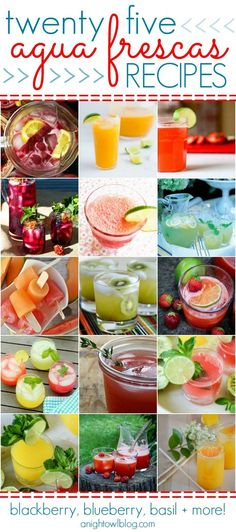25 Agua Frescas Recipes - Blackberry Blueberry Basil and more! |