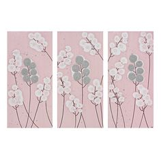 Pink and Gray Nursery Wall Art Textured Painting by Amborela, $145.00